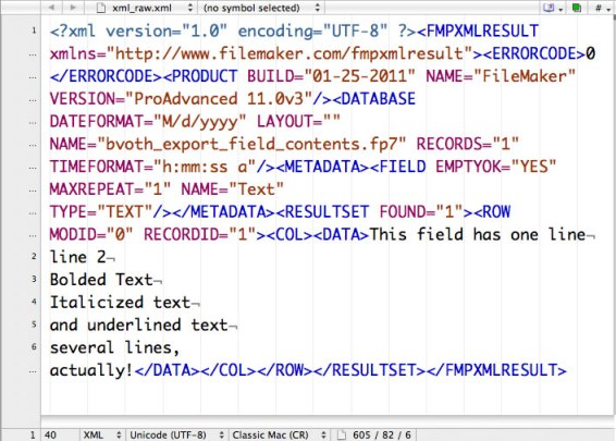 Raw XML export as text