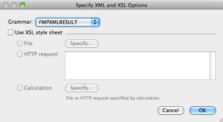 Specify XML and XSLT Options dialog
